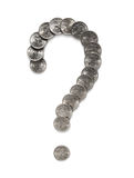 Financial problem. Question-mark out of small money. Object over white Stock Photos