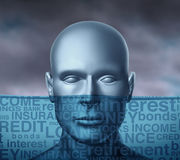 Financial Problems. Drowning in debt and trying to keep your head above water with storm clouds as a human head sinking with different finance terms like Royalty Free Stock Photos