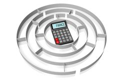 Financial problems concept. 3D calculator concept - on white background Stock Images