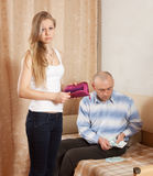 Financial problems in the family Stock Photo