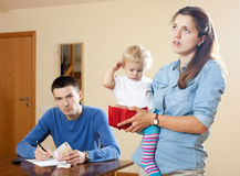 Financial problems in  family. Financial problems in the family with baby Stock Photos