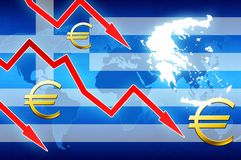 Financial problems in Greece red arrows euro currency symbol concept news background Stock Images