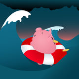 Financial problems. Piggy bank drowning in the storm sea, loosing money, vector cartoon Royalty Free Stock Photos