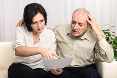 Financial problems sad elderly man Stock Photography
