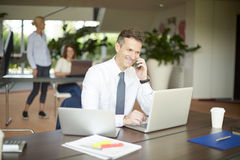 Financial professional man making call and using laptop Royalty Free Stock Photography