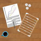Financial profit chart on desk. Vector information with calculator, analytics finance economic illustration Royalty Free Stock Image