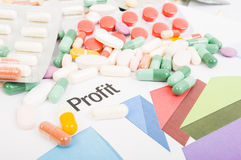 Financial profit from pills sales Royalty Free Stock Images