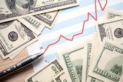 Financial profits. Dollars with document showing us financial profits Royalty Free Stock Image