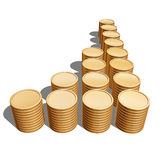 Financial progress. Illustration of gold coins on white background Royalty Free Stock Photo