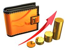 Financial progress concept (Hi-Res). Shiny orange wallet near stacks of coins with red arrow up. Isolated on white. 3D render Royalty Free Stock Photo
