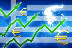 Financial prosperity in Greece green arrows euro currency symbol concept news background. Illustration Royalty Free Stock Images