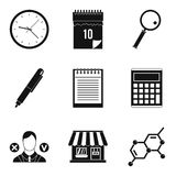 Financial prosperity icons set, simple style. Financial prosperity icons set. Simple set of 9 financial prosperity vector icons for web isolated on white Royalty Free Stock Image