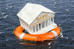 Financial protect from bank failure. Lifebuoy with bank building. Swimming in the water. 3D rendering Stock Image