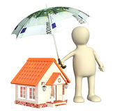 Financial protection. Puppet with umbrella and house Stock Image