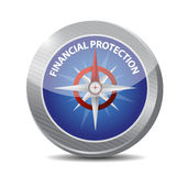 Financial Protection compass sign concept. Illustration design graphic Stock Image