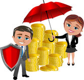 Financial Investment Protection Concept. Illustration featuring stacked golden coins covered by red umbrella and protected by red shield held by Meg and Bob Royalty Free Stock Photos