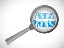 Financial Protection magnify glass sign Royalty Free Stock Images