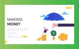 Financial Protection Money Landing Page Template. Insurance Agent Holding Umbrella over Money. Financial Protection. Concept with Woman Watering Money Tree for royalty free illustration
