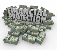 Financial Protection Safe Secure Money Investment Account  Savin. Financial Protection 3d words surrounded by piles of money or cash to illustrate safe, secure Stock Images