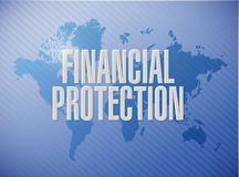 Financial Protection world map sign concept. Illustration design graphic Royalty Free Stock Photography