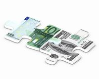 Financial puzzle. Dollar versus euro puzzle concept Stock Photos