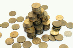 Financial pyramid of 10 roubles coins Royalty Free Stock Images