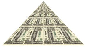 Financial Pyramid. Pyramid Of Dollars Over White Background Stock Image