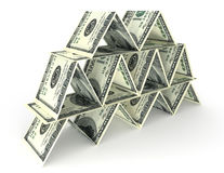 Financial pyramid. Big money stack from dollars usa. Finance pyramid Royalty Free Stock Images