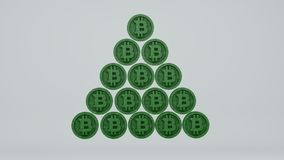 Financial pyramid of bitcoins, 3d. Render on a white background Royalty Free Stock Photography