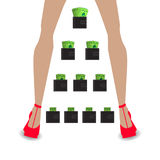 Financial pyramid concept. business mlm. Network marketing. Wallet with money. women`s legs in red shoe Stock Photo