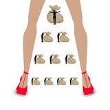 Financial pyramid concept. illustrating career. Growth. long women`s legs and bags of money Stock Photography