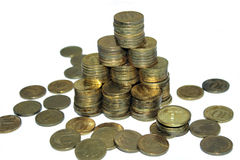 Financial pyramid of five roubles coins Royalty Free Stock Photo