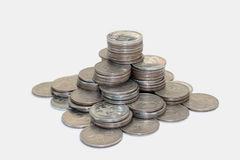 Financial pyramid of five roubles coins Stock Photography