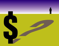 Financial questions. An illustration with a question mark and a dollar sign demonstrating the uncertainty of finances Royalty Free Stock Photo