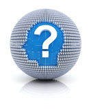 Financial questions icon on globe formed by dollar Stock Image