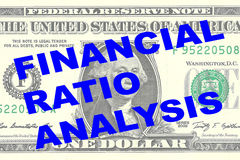 Financial Ratio Analysis concept. Render illustration of FINANCIAL RATIO ANALYSIS title on One Dollar bill as a background Royalty Free Stock Image