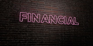 FINANCIAL -Realistic Neon Sign on Brick Wall background - 3D rendered royalty free stock image. Can be used for online banner ads and direct mailers Stock Photography