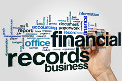 Financial records word cloud concept on grey background.  Royalty Free Stock Photography