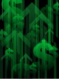 Financial recovery background. Green upward arrows and dollar signs form a finance background Royalty Free Stock Images