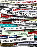 Financial recovery headlines. Background design of newspaper headlines about economic recovery Royalty Free Stock Photo