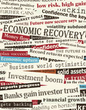 Financial recovery headlines. Background editable  design of newspaper headlines about economic recovery Stock Photos