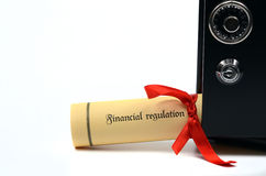 Financial regulation and steel safe Royalty Free Stock Photography