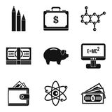 Financial remuneration icons set, simple style. Financial remuneration icons set. Simple set of 9 financial remuneration vector icons for web isolated on white Royalty Free Stock Image