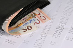 Financial report. Wallet with different banknotes on banking report Royalty Free Stock Photography