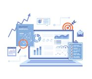 Financial Report. Accounting, analysis, audit, research, results. Laptop with graphs and charts on the screen, clipboard, report, royalty free stock photo