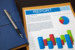 Financial report. Analysis on table Royalty Free Stock Photos