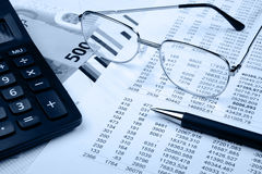 The financial report. Blue tone Royalty Free Stock Image