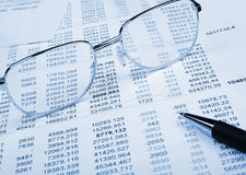 The financial report. Blue tone Stock Photos