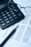 The financial report. Blue tone Stock Images