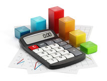 Financial report. With a calculator, documents and blocks Royalty Free Stock Image